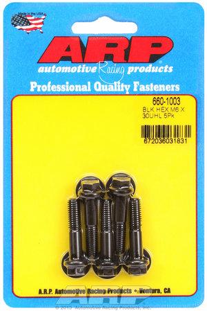 ARP M6 x 1.00 x 30 hex black oxide bolts 6601003