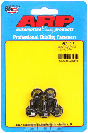 ARP M6 x 1.00 x 12  hex black oxide bolts 6601016