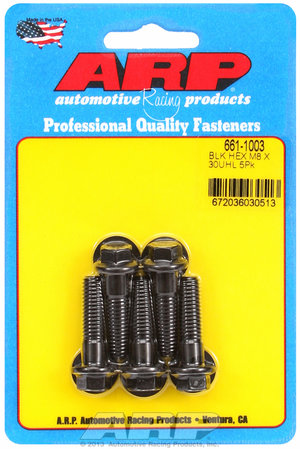 ARP M8 x 1.25 x 30 hex black oxide bolts 6611003