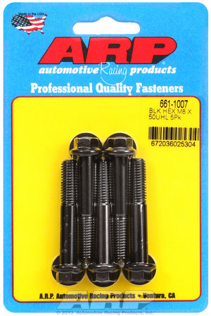 ARP M8 x 1.25 x 50 hex black oxide bolts 6611007