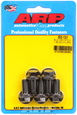 ARP M10 x 1.25 x 20 hex black oxide bolts 6631001