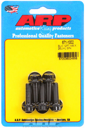 ARP M8 x 1.25 x 25 12pt black oxide bolts 6711002